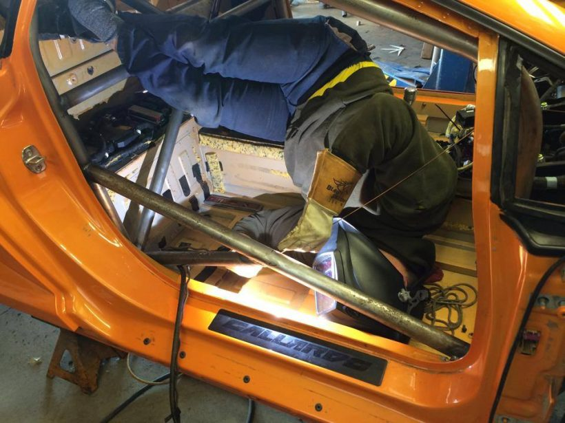 Owner: Ryan Thompson, getting the right weld angle on the Lamborghini Gallardo roll cage fabrication